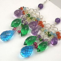 Wire Wrapped Gemstone Chandelier Earrings by TownCountryJewelry