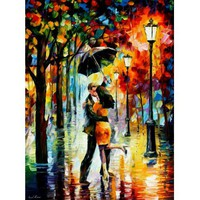 DANCE UNDER THE RAIN -  Original Recreation Oil Painting On Canvas By Leonid Afremov - ONLY TODAY $139  - FREE SHIPPING (Auction ID: 259258, End Time : Mar. 11, 2013 16:07:14) - Afremov official online Art Gallery
