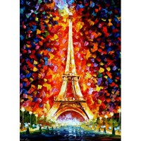 "PARIS -EIFEL TOWER LIGHTED -  PALETTE KNIFE Oil Painting On Canvas By Leonid Afremov -  Size 30"" x 40"" (Auction ID: 259193, End Time : Mar. 11, 2013 09:39:00) - Afremov official online Art Gallery"
