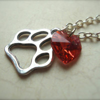 I HEART ED - Ed Sheeran Inspired Paw Print Necklace On 925 Sterling Silver Chain with Orange Swarovski Crystal Heart British Music Guitar