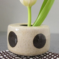polka dotted pottery vase with flower frog by JDWolfePottery