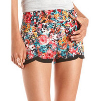 Scalloped Hem Floral Short: Charlotte Russe