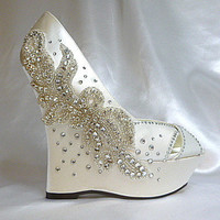 Dhalia  ivory satin 5 inch wedge and by everlastinglifashion
