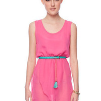 Belted Chiffon Hi-Low Dress  in Fuchsia :: tobi