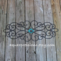 Metal Wall Decor /Turquoise, Red /Distressed Patio Decor /Painted Bright /Outdoor Up Cycled Iron Art /Ornate Design