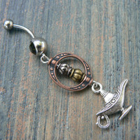 genie in a bottle belly ring aladdin&#x27;s lamp Copper beads in belly dancer fantasy gypsy hippie morrocan boho and hipster style