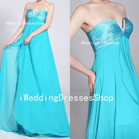 Strapless Sweetheart with Crystals Empire Long Chiffon Wathet Blue Prom Dresses Party Dresses, Homecoming Dresses, Evening Dresses