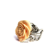 Light Peach Rose Ring. Adjustable Filigree Ring. Cocktail Ring. Pastel Tea Rose. Easter