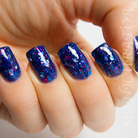 Hex Appeal - Navy Jelly Glitter Polish-  0.5 oz Full Sized Bottle