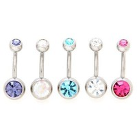 Amazon.com: Body Colorz™ Lot of 5 New Double Jeweled Gemmed Belly Navel Body Jewelry Piercing Bar Ring Rings 14g: Jewelry
