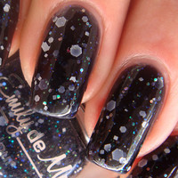 "Nail polish - ""Insomnia"" white, silver holo and iridescent glitter in a black jelly base - new 12ml bottle"