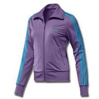 Adidas Firebird Women`s Track Jacket - Super Purple / Super Cyan (Medium)