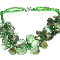 Green Shell Green Faceted Glass Necklace 18 in TGW 650.00 cts.3-dimensional