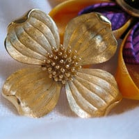 Signed Trifari Brushed Gold Dogwood Blossom Brooch