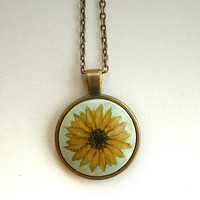 Sweet Sunflower Necklace, Hand Painted Jewelry, Retro Vintage Style, Charm with Cable Chain