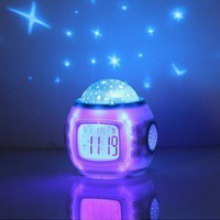 Children Room Sky Star Night Light Projector Lamp Bedroom Alarm Clock W/music