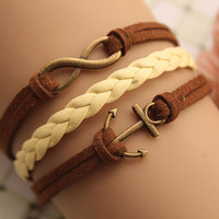 infinity bracelet,retro bronze little anchor bracelet,yellow braid leather bracelet,brown rope---B168