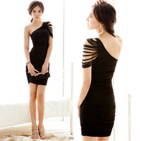 Fashion Ladies Short Mini Dress Draped One shoulder Sleeve Hip-length