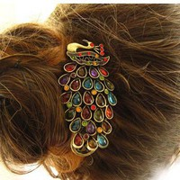 Colorful Rhinestone Peacock Pattern Hair Clip