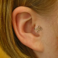 Fleur RIGHT Tragus Cuff Silver Ear Cuff wire loop by ZyDesigns