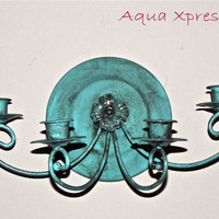 Refurbished Blue Wall Candelabra by AquaXpressions on Etsy