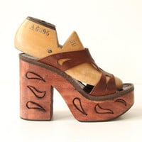 Etched Wood Platform Shoes Brown Leather Straps by nbdg on Etsy
