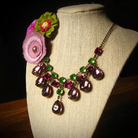 Purple & Green Rhinestone Statement Necklace, Bridal Wedding Jewelry, Custom