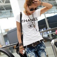 chanel t shirt cc logo short sleeve