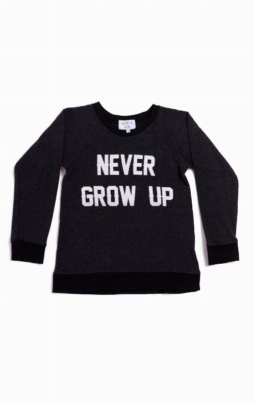 NEVER GROW UP - BAGGY BEACH JUMPER at Wildfox Couture in - CLEAN BLACK, -CLEAN WHITE
