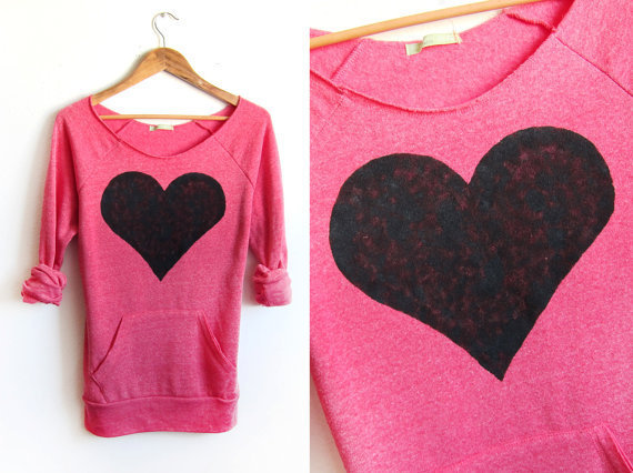 Black Heart Hand STENCILED Deep Scoop Neck pink by twostringjane