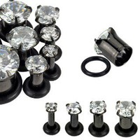 Blackline Cubic Zirconia Prong Ear Gauges