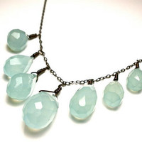 Rain Drop Chalcedony Necklace by OddsAndEndsByKaley on Etsy