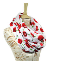 Cherry Infinity Scarf Red White Cherries Large Wide