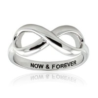 Sterling Silver Now & Forever Infinity Ring - Available Size: 5, 5.5, 6, 6.5, 7, 7.5, 8, 8.5, 9