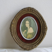 Vintage Cameo Portrait Woman Wall Art Barbola Plaster Oxblood Velvet