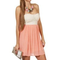 Apricot Pleated Sweetheart Dress