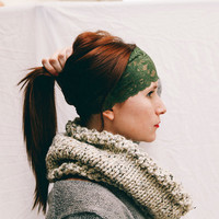Wide Olive Green Stretch Lace Headband READY TO SHIP