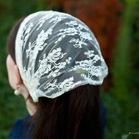 Delicate Lace covering veil headband hair by GarlandsOfGrace