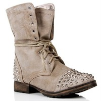 Pre-Order: Taupe Lace Up Studded Combat Boots