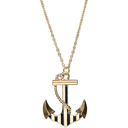 gold tone striped anchor necklace from river island
