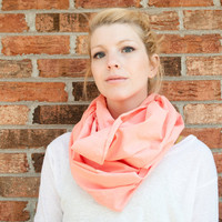 infinity scarf cowl handdyed coral lightweight by CThandmade