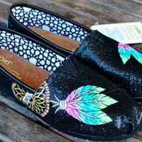 Pastel colored Dream Catchers on Black Glitter TOMS shoes
