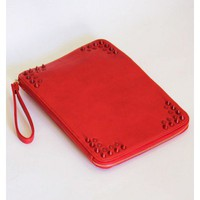 Red Spiked Envelope Clutch