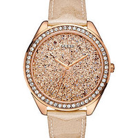 GUESS Watch, Women's Peach Glitter Patent Leather Strap 45mm U0155L1 - Guess - Jewelry & Watches - Macy's