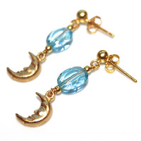 Sky Blue Topaz Earrings Gold Vermeil Moon Earrings Handcrafted Gemstone Jewelry
