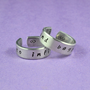 to infinity and beyond - Hand Stamped Aluminum Couples Ring Set, Adjustable Skinny Ring