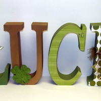 LUCK wood letters st patricks decor green gold home decor
