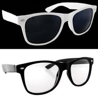 Amazon.com: Lot 2 Wayfarers Black Clear Lens and White Dark Lens: Shoes