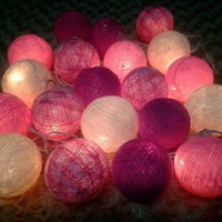 20 Mixed Pink Tone Handmade Cotton Balls Fairy String Lights