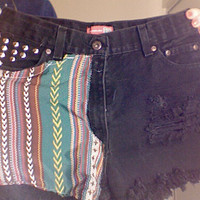 Black Studded Tribal High Waisted Hipster Shorts by meyounbob